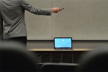 Instructor signs into Skype application