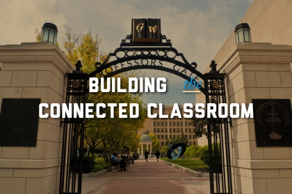 Image of a building with text: Building the connected classroom